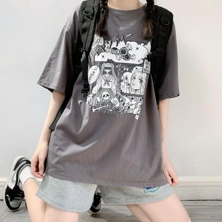 イラストプリントTシャツキャンディver◆トップス Tシャツ S、M、L