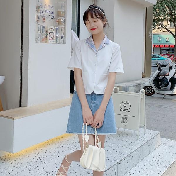 【BYJ】チェックラペルカラーショートシャツ◆トップス S、M、L