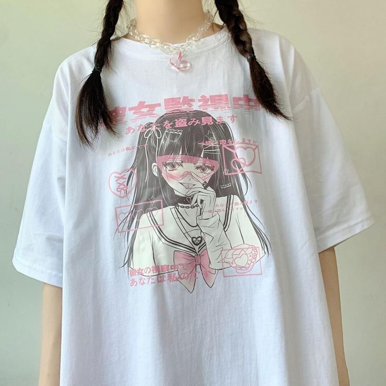 イラストプリントTシャツ監視ver◆トップス Tシャツ ワンサイズ
