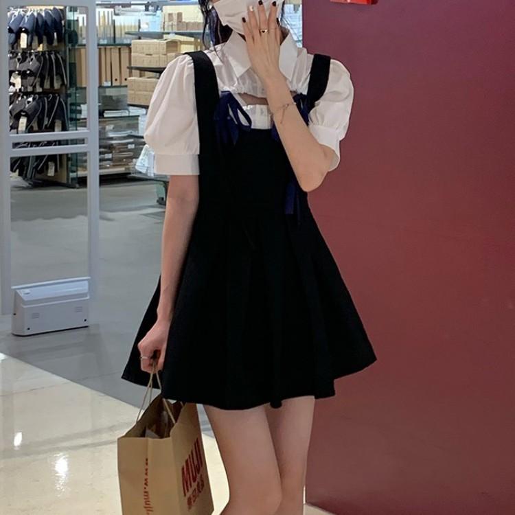 スリングプリーツスカート+胸開シャツセットアップ◆セットアップ S、M、L、XL