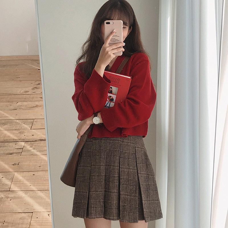 Vネックセーター+プリーツスカートセットアップ◆セットアップ S、M、L、XL