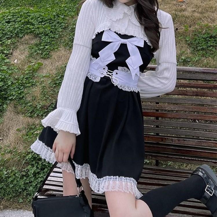 ホワイトブラウス+サスペンダースカート◆セットアップ S、M、L、XL