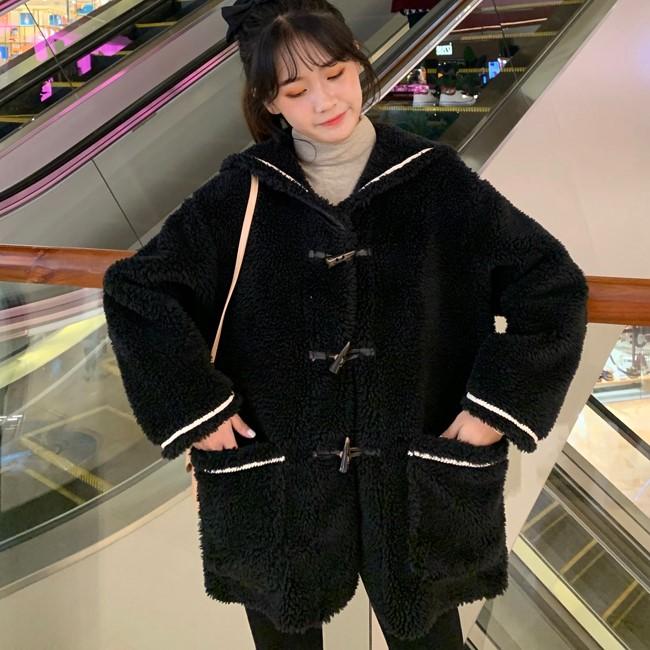 2020冬新作 ネイビーカラーホーンバックルコート◆レディース アウター ワンサイズ