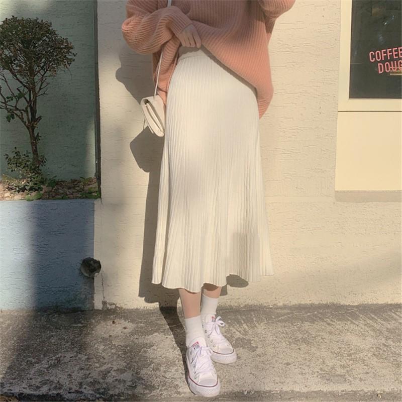 ラウンドネックセーター+ミドル丈ハイウエストスカートツーピース◆セットアップ S、M、L、XL