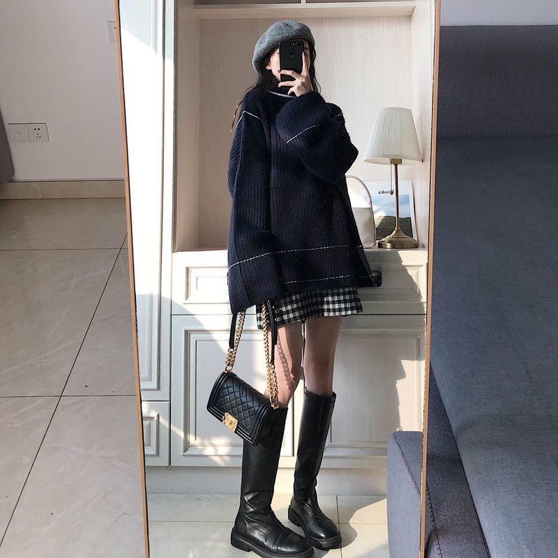 ラウンドネックセーター+チェック柄スカートツーピース◆セットアップ S、M、L、XL
