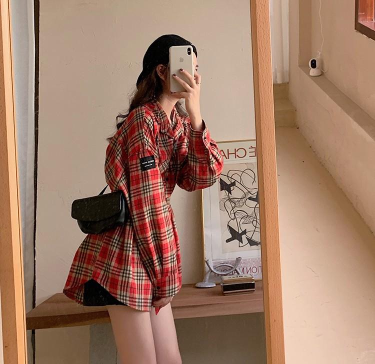 格子柄チェックロングシャツ◆トップス ワンサイズ