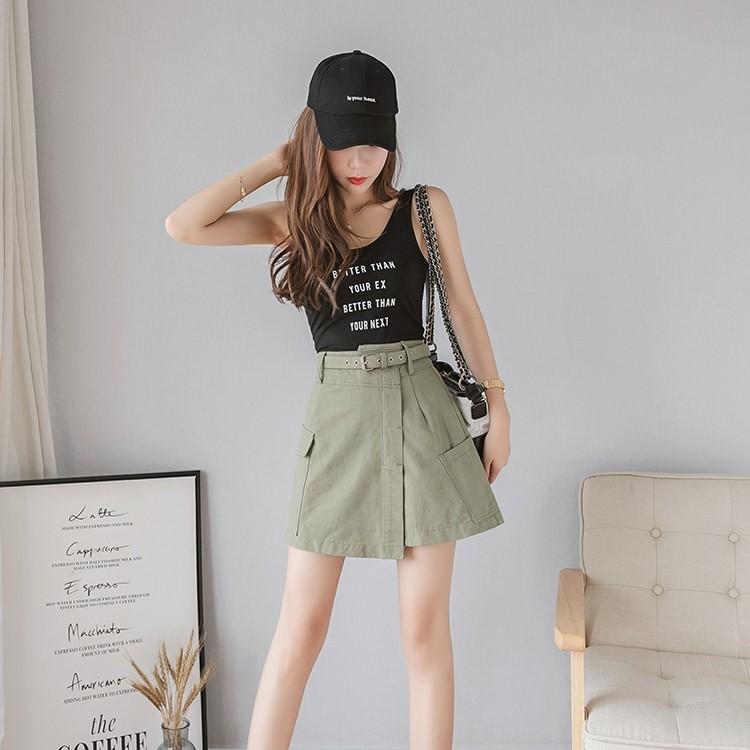 ハイウエストアンチグレアAラインスカート◆レディース ボトムス S、M、L、XL、XXL