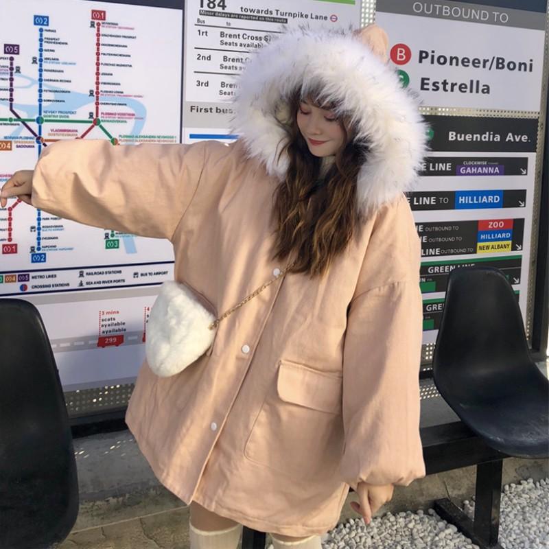 2020冬新作 ファーフード付ミドル丈コットンジャケット◆レディース アウター S、M、L,XL、XXL