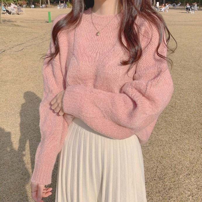 ラウンドネックセーター+ロングスカートツーピース◆セットアップ ワンサイズ