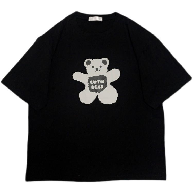 イラストプリントTシャツダークベアver◆トップス Tシャツ ワンサイズ