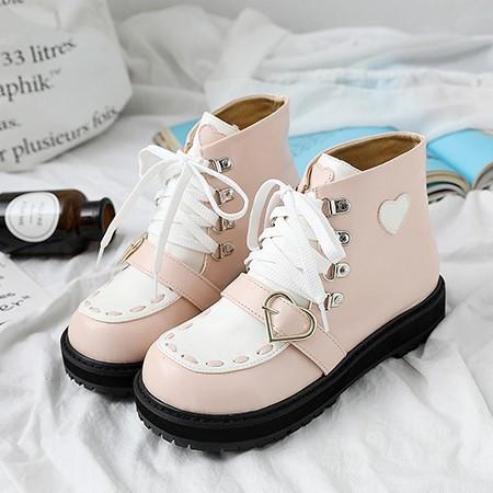 厚底ラウンドヘッドハートショートブーツ◆靴34〜40