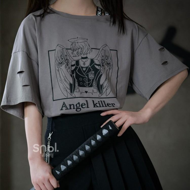【snbl】イラストプリントTシャツエンジェルキラーver◆トップス Tシャツ S、M、L