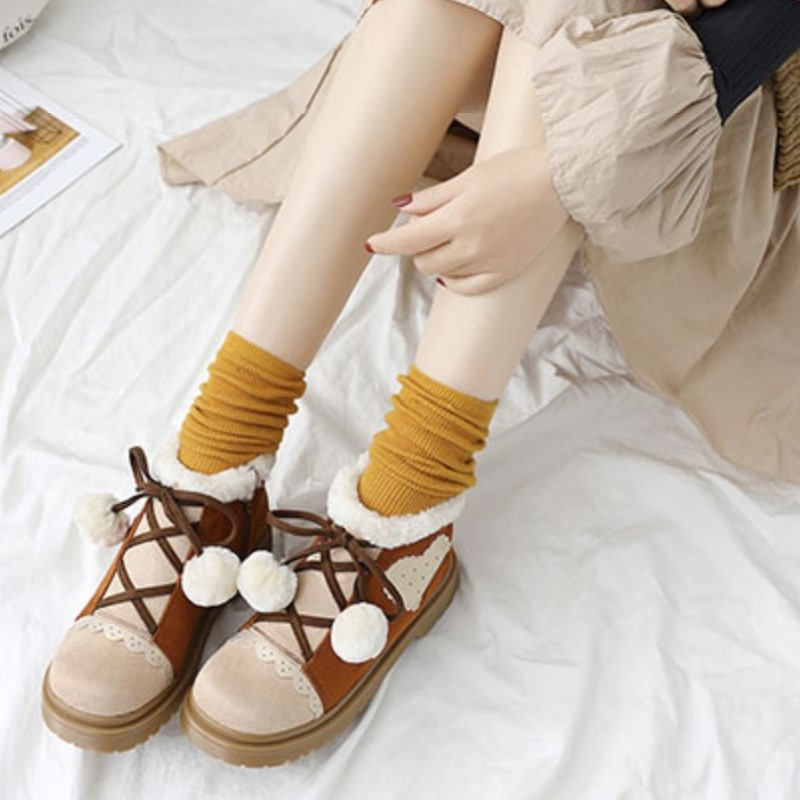 厚底スノーボールハート柄ショートブーツ◆靴34〜40