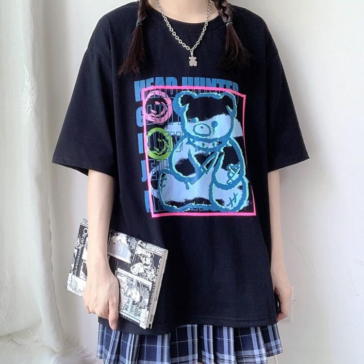 イラストプリントTシャツナイフベアver◆トップス Tシャツ S、M、L