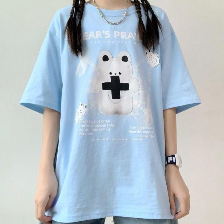 イラストプリントTシャツクロスベアver◆トップス Tシャツ S、M、L