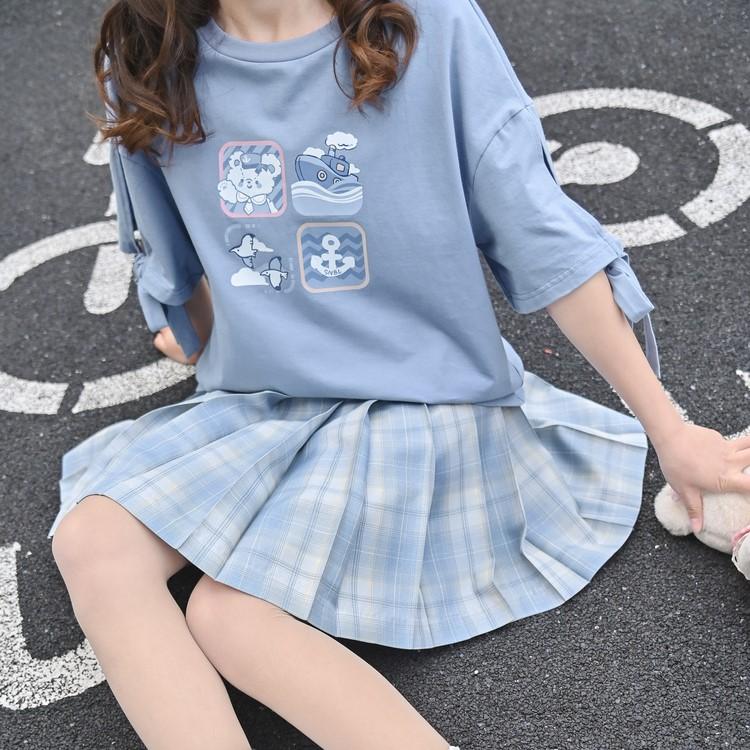 【snbl】リボンスリーブプリントTシャツ◆トップス Tシャツ S、M、L