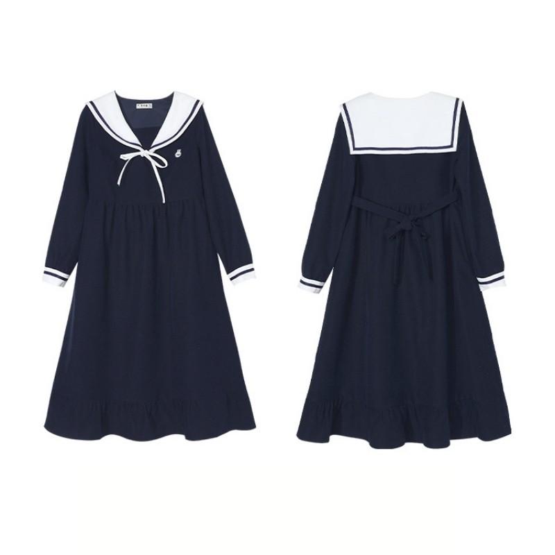 【BYJ】 ミドル丈学生服風ワンピース◆ワンピース S、M、L