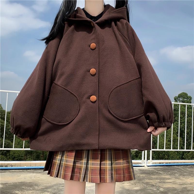 クマ耳フード付厚手ウールコート◆アウター ワンサイズ