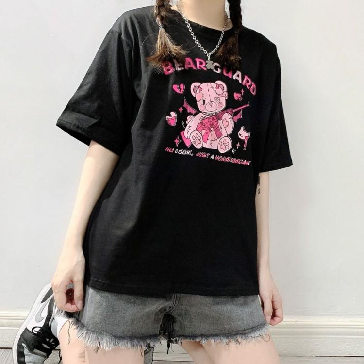 イラストプリントTシャツベアガードver◆トップス Tシャツ ワンサイズ