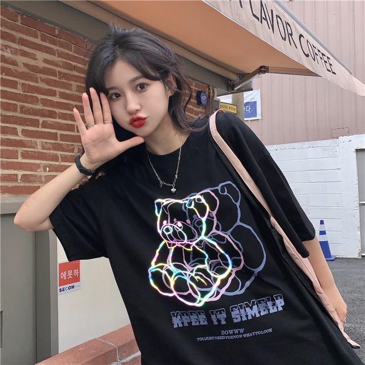 イラストプリントTシャツ蛍光ベアver◆トップス Tシャツ ワンサイズ