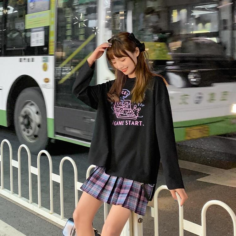 【BYJ】 ラウンドネックゲームうさぎトレーナー◆トップス S、M、L