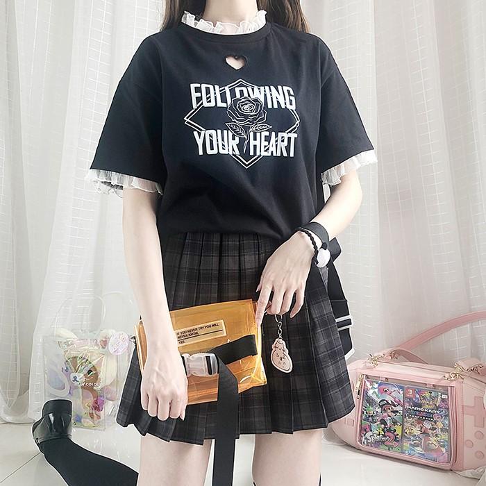 【CW】レースステッチハートホールTシャツ◆トップス Tシャツ ワンサイズ