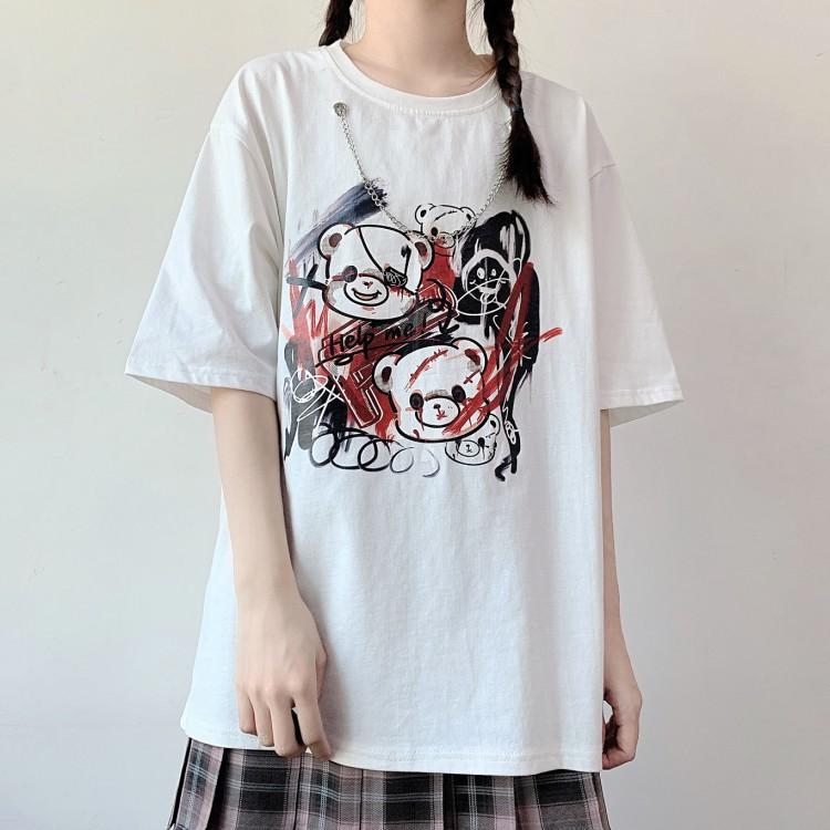 イラストプリントTシャツバイオレンスベアver◆トップス Tシャツ S、M、L