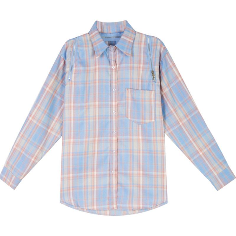 格子柄オフショルロングシャツ◆トップス S、M、L、XL