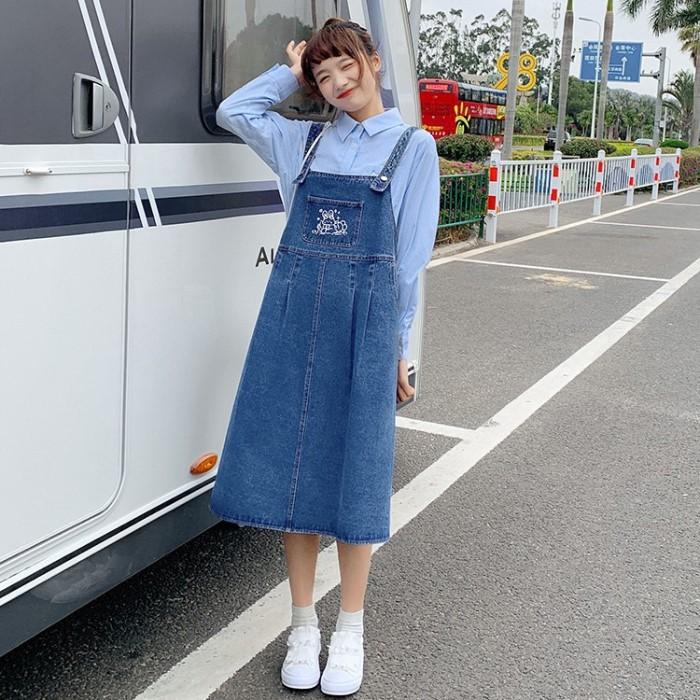 【BYJ】 デニムストラップスカートうさぎ◆ワンピース S、M、L