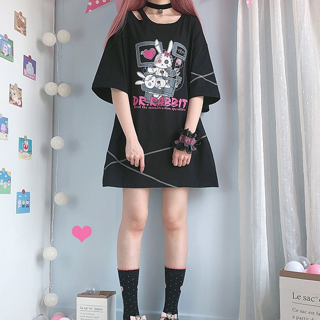 【CW】オーバーサイズドクターラビットプリントTシャツ◆トップス Tシャツ ワンサイズ