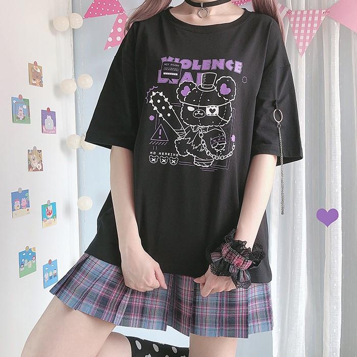 【CW】チェーン付バイオレンスベアプリントTシャツ◆トップス Tシャツ ワンサイズ