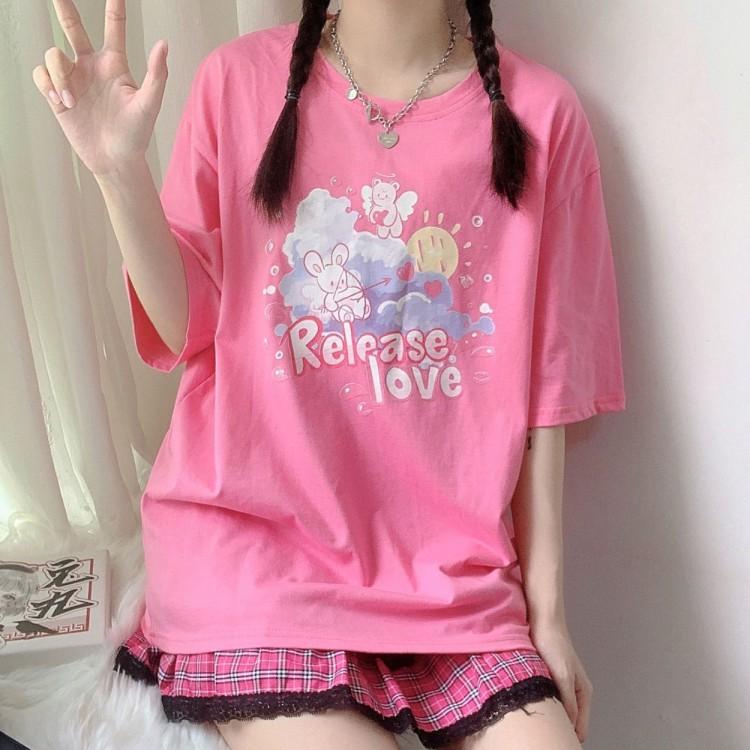 イラストプリントTシャツクマキューピットver◆トップス Tシャツ S、M、L