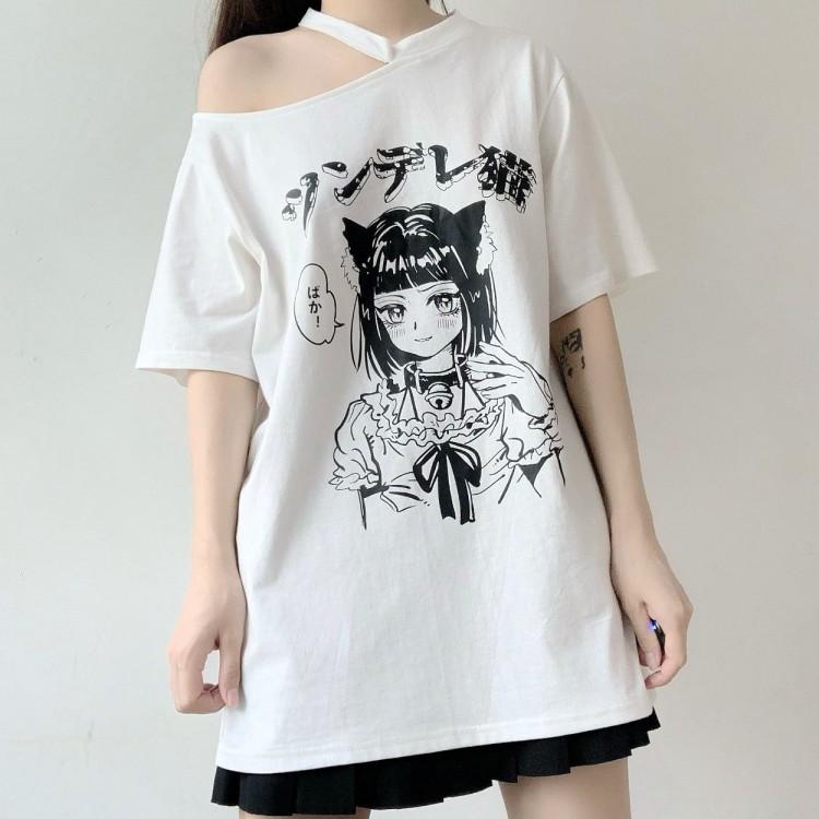 イラストプリントTシャツツンデレ猫ver◆トップス Tシャツ S、M、L