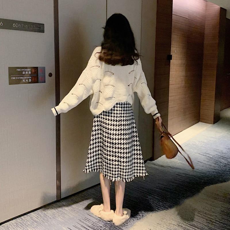2020秋新作 ショートニットセーター+千鳥格子柄セーター◆レディース セットアップ S、M、L、XL