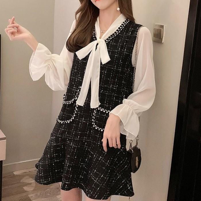 Vネックシャツ+フィッシュテールスカートツーピース◆レディース セットアップ S、M、L、XL