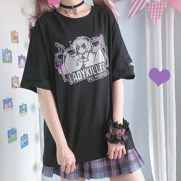 【CW】ジッパースリーブレディキラープリントTシャツ◆トップス Tシャツ ワンサイズ