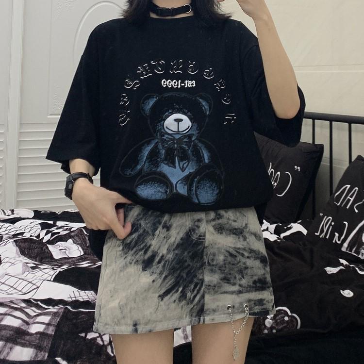 イラストプリントTシャツブラックベアver◆トップス Tシャツ ワンサイズ