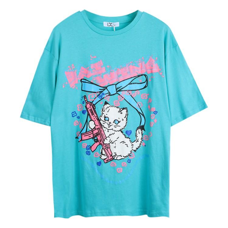 イラストプリントTシャツネコマシンガンver◆トップス Tシャツ ワンサイズ