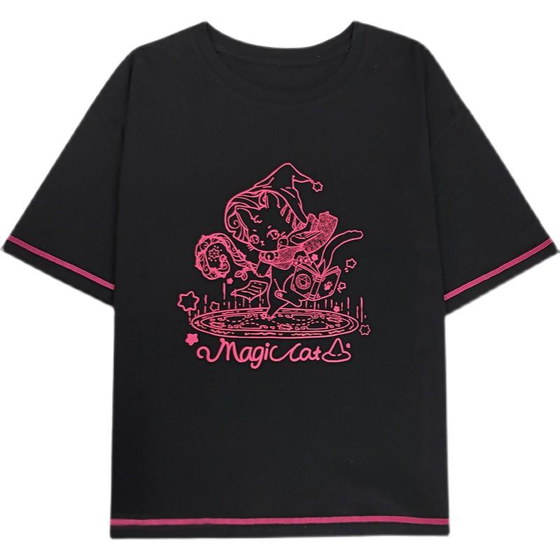 【CW】マジックキャットイラストプリントTシャツ◆トップス Tシャツ ワンサイズ