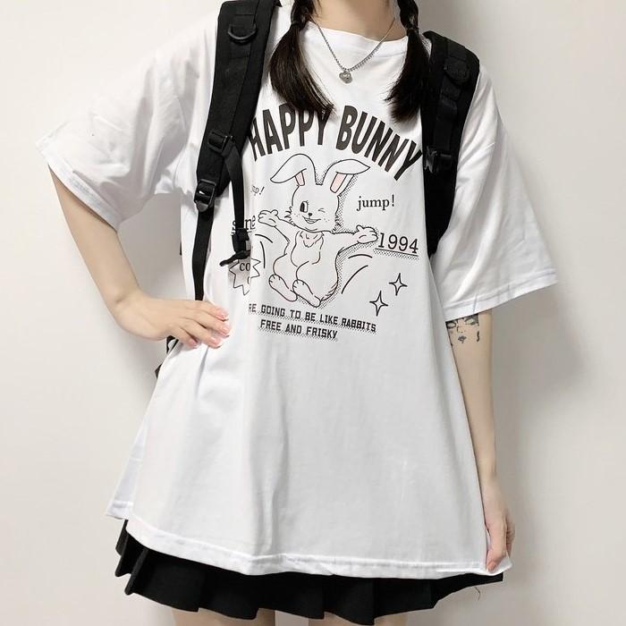 イラストプリントTシャツハッピーバニーver◆トップス Tシャツ ワンサイズ