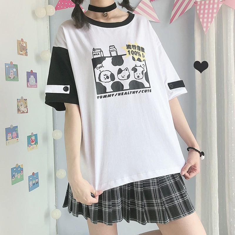 【CW】アシンメトリーミルクプリントTシャツ◆トップス Tシャツ ワンサイズ