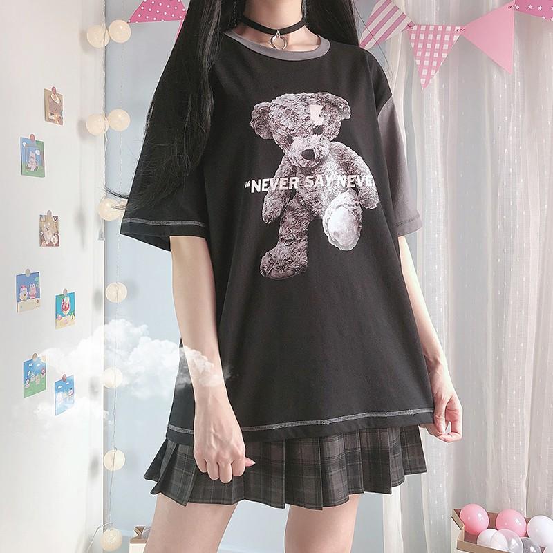 【CW】アシンメトリークマプリントTシャツ◆トップス Tシャツ ワンサイズ