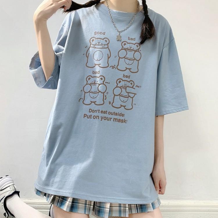 イラストプリントTシャツマスククマver◆トップス Tシャツ S、M、L