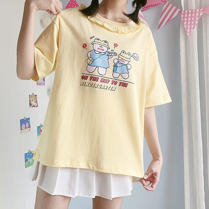 【CW】フリルカラークマプリントTシャツ◆トップス Tシャツ ワンサイズ