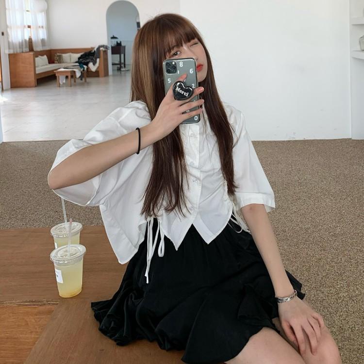 五分袖プリーツシャツ+Aラインハイウエストスカート◆セットアップ ワンサイズ