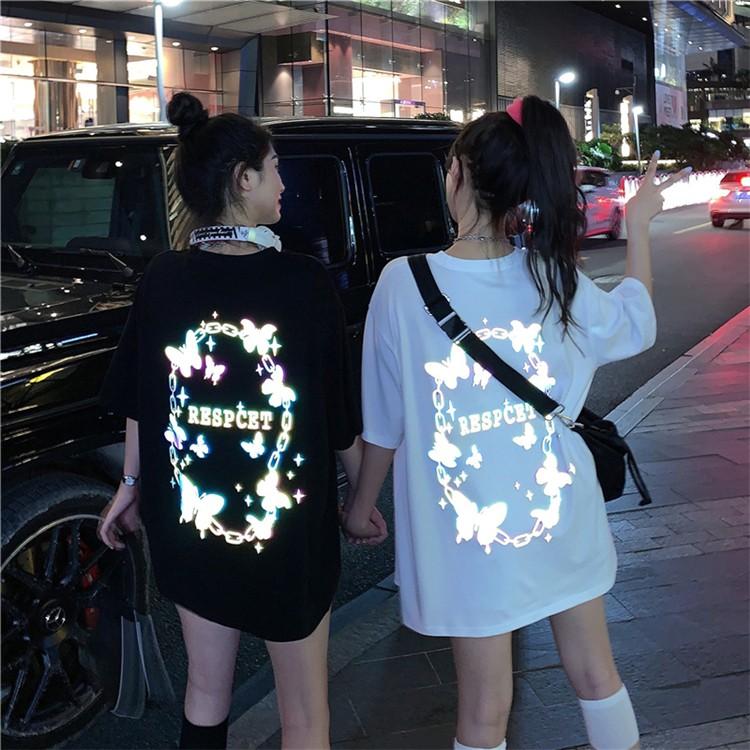 リフレクター蝶プリントTシャツ◆トップス Tシャツ M、L、XL、XXL