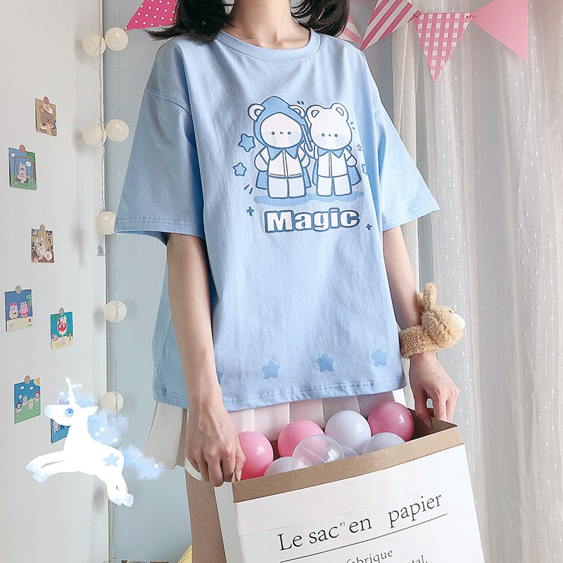 【CW】クママジシャンプリントTシャツ◆トップス Tシャツ ワンサイズ