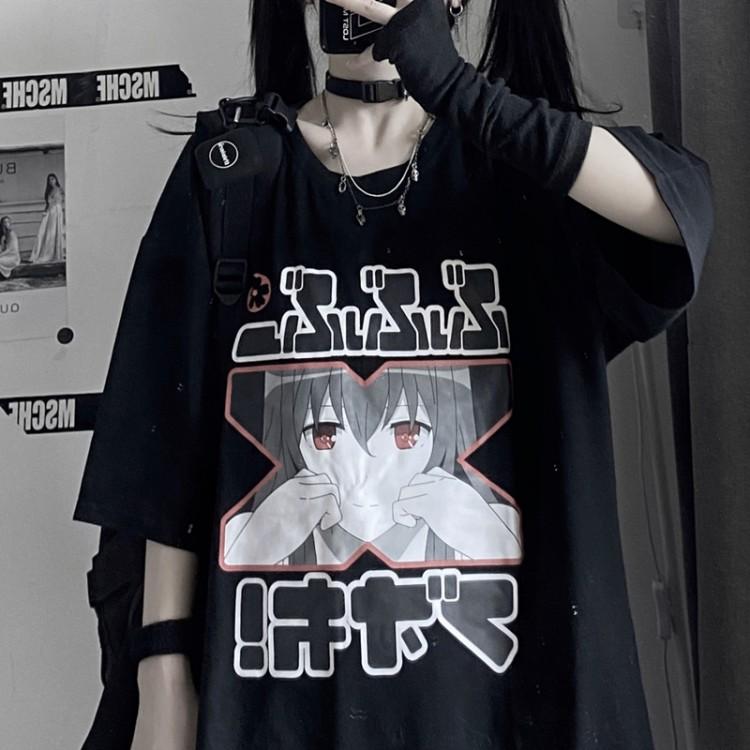 イラストプリントTシャツXver◆トップス Tシャツ S、M、L、XL、XXL