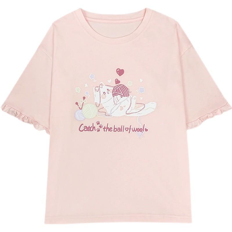 【CW】ウールキャットプリントTシャツ◆トップス Tシャツ ワンサイズ