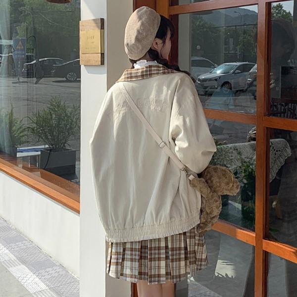 【BYJ】 チェック柄リバーシブルコットンジャケット◆アウター S、M、L